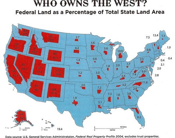 From This Map One Can See Why Federal Government Ownership Of Land In The West Might Create Some Angst For People Living In Those States And For Those State